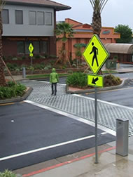 Mid-block crossing with offset, pedestrian sensors, Redding CA